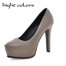 2016 Sexy 12 cm tacones altos mujeres bombas de la plataforma nueva boda de la manera zapatos de fiesta negro pantalones más el tamaño 34-43 zapatos de mujer