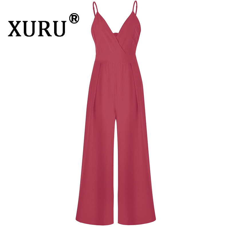 XURU new hot summer women 39 s jumpsuit solid color halter strap bow v neck jumpsuit long section waist holiday wide leg jumpsuit in Jumpsuits from Women 39 s Clothing