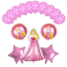 Cinderella Snow White Princess balloons Aurora Ariel Belle Jasmine Tiana Anna globos Baby girl birthday Party shower supply toys