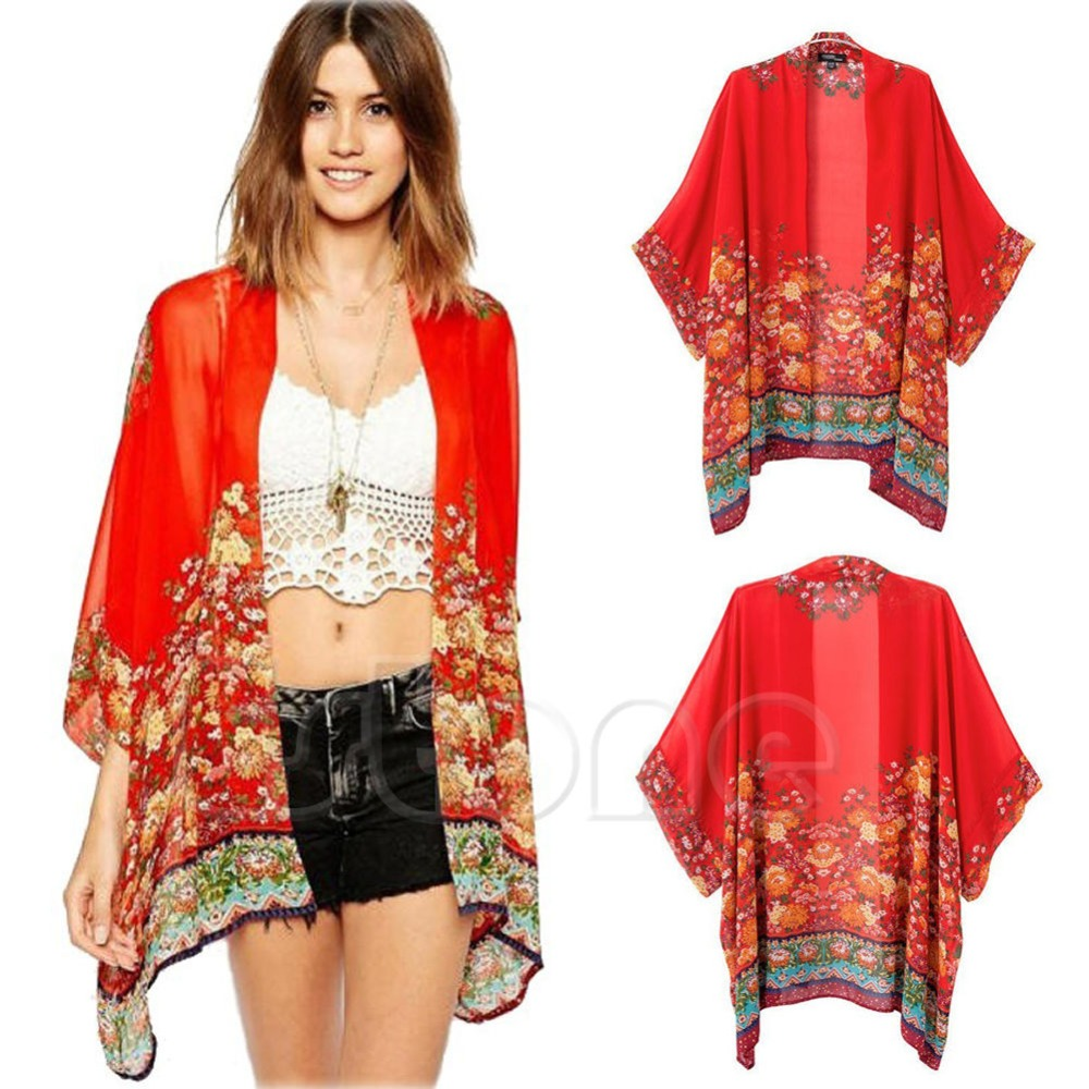 Aliexpress.com : Buy Fashion Flower Print Cardigan Chiffon Kimono ...