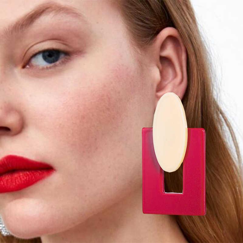 Acryl Oorbellen 2019 Big Verklaring Oorbellen Voor Vrouwen Hars Ovale Vierkante Geometrische Drop Dangle Oorbellen Bohemian Sieraden Gift
