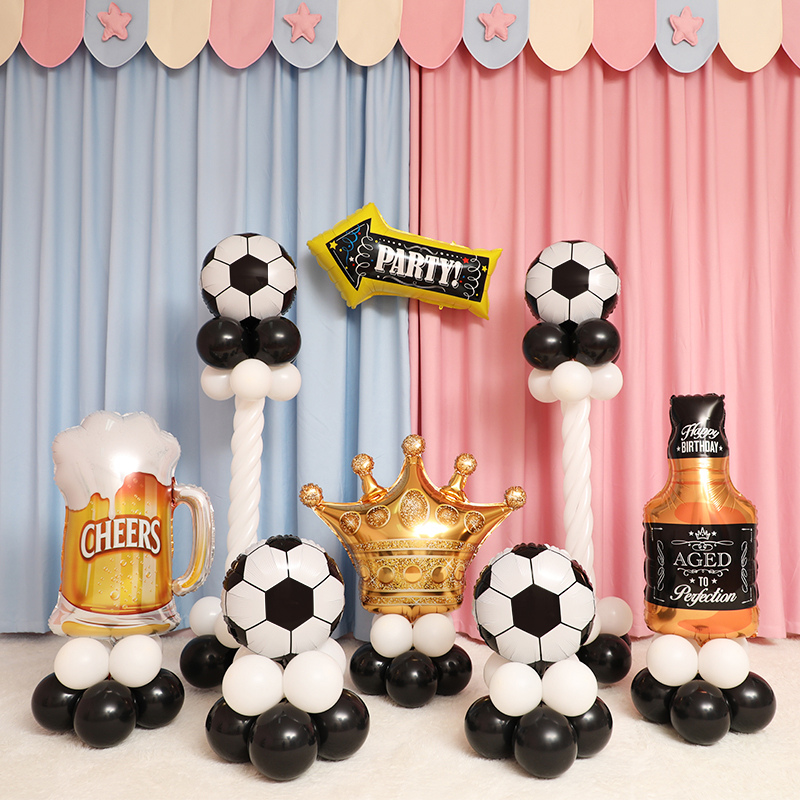 10pcs Green Football Soccer Theme Party Balloons Black White latex Balloon for Boys Birthday Games Toys Party Decor Supplies-in Ballons & Accessories from Home & Garden