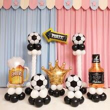 Balões para festa de futebol, balão verde e branco preto para jogos de aniversário para meninos, decoração de festa, 10 peças