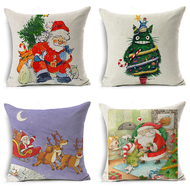 Monily Christmas Pillow Cover Santa Claus Flamingo Letter Cushion Cover Decorative Throw Pillow Case Sofa Home Decor almofadas
