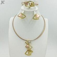 Nuevo de Alta Calidad Conjunto de Joyas de Oro Dubai 3 color Color Nigeriano Boda Africana Sistemas de La Joyería Bijoux Parure