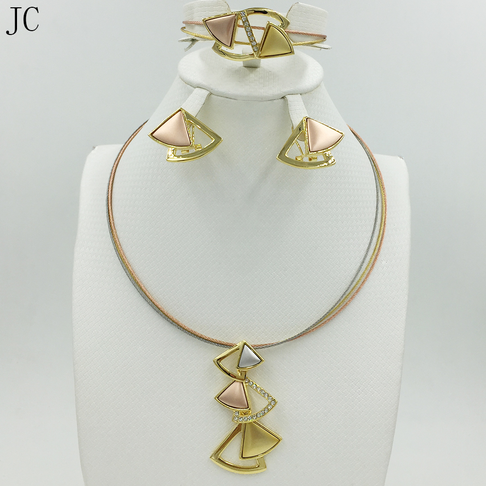New High Quality Dubai 3color Jewelry Set Rose Silver 18K real Gold Plated Nigerian Wedding African