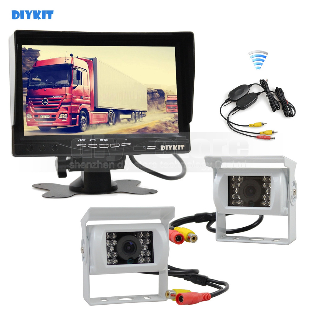 DIYKIT Wireless 7inch TFT LCD Car Monitor Reverse Rear View Monitor + 2 x IR Night Vision HD CCD Rear View Car Camera White car rear view system 7inch tft colour quad 4ch video input car monitor for reverseing cctv car camera monitor