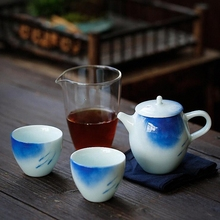 PINNY 5 Piece Set Portable Hand Painted Tea Travel White Porcelain Teapot Traditional Chinese Teaware Kung Fu Cups