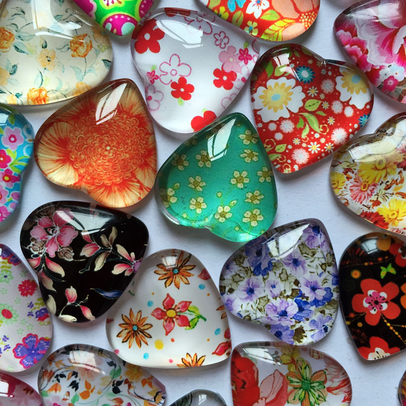 ZEROUP 20pcs 25mm Heart Glass Cabochons Mixed Pattern Cameo Photo Cabochons Handmade Supplies For Jewelry Components 001