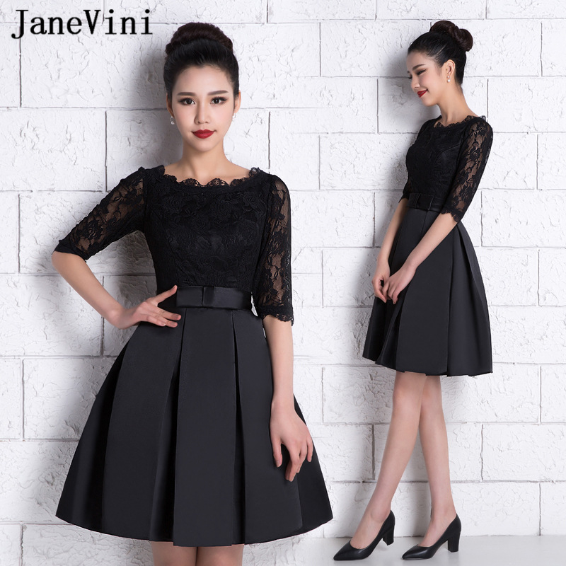 JaneVini Vintage Black A Line Short Cocktail Dresses 2019 O Neck Lace Half Sleeve Satin Evening Party Plus Size Cocktail Dresses