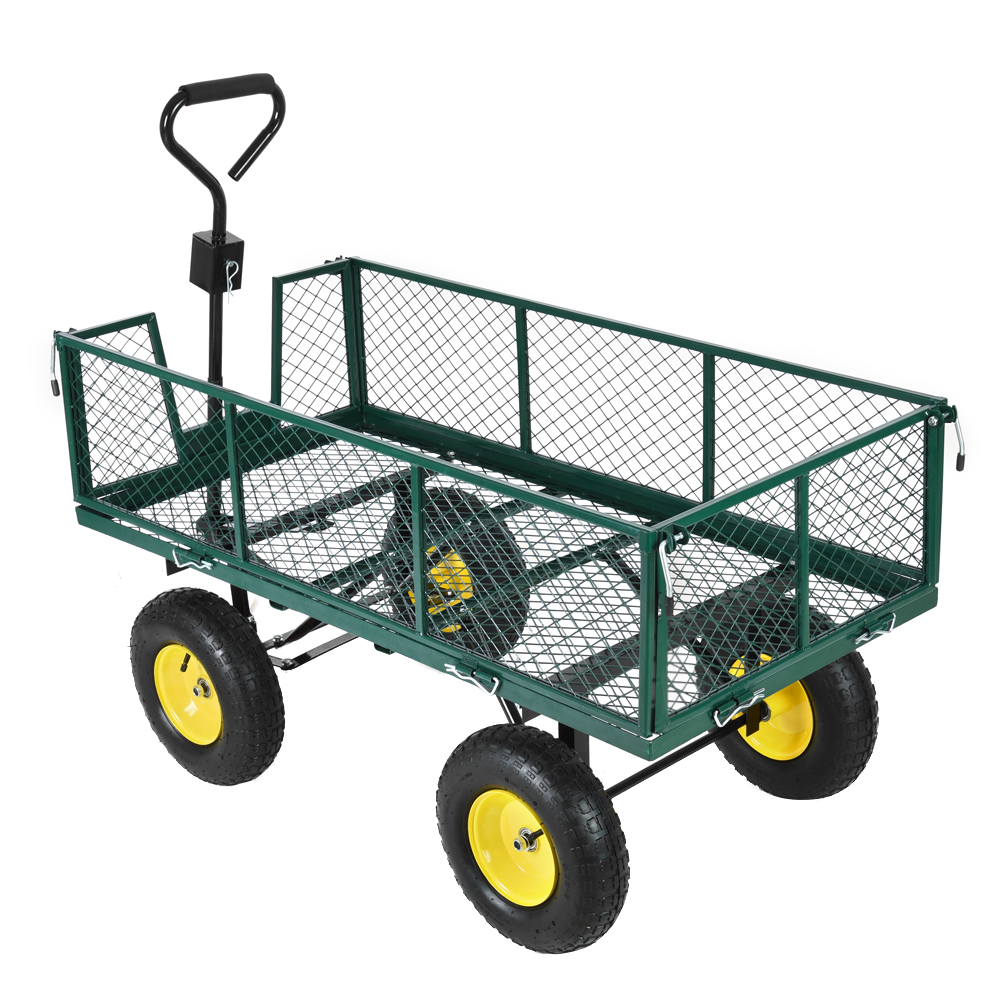 Panana Heavy Duty Garden Trolley Cart 4 Wheel Barrow Quad Trailer Large 500kg Sack Truck