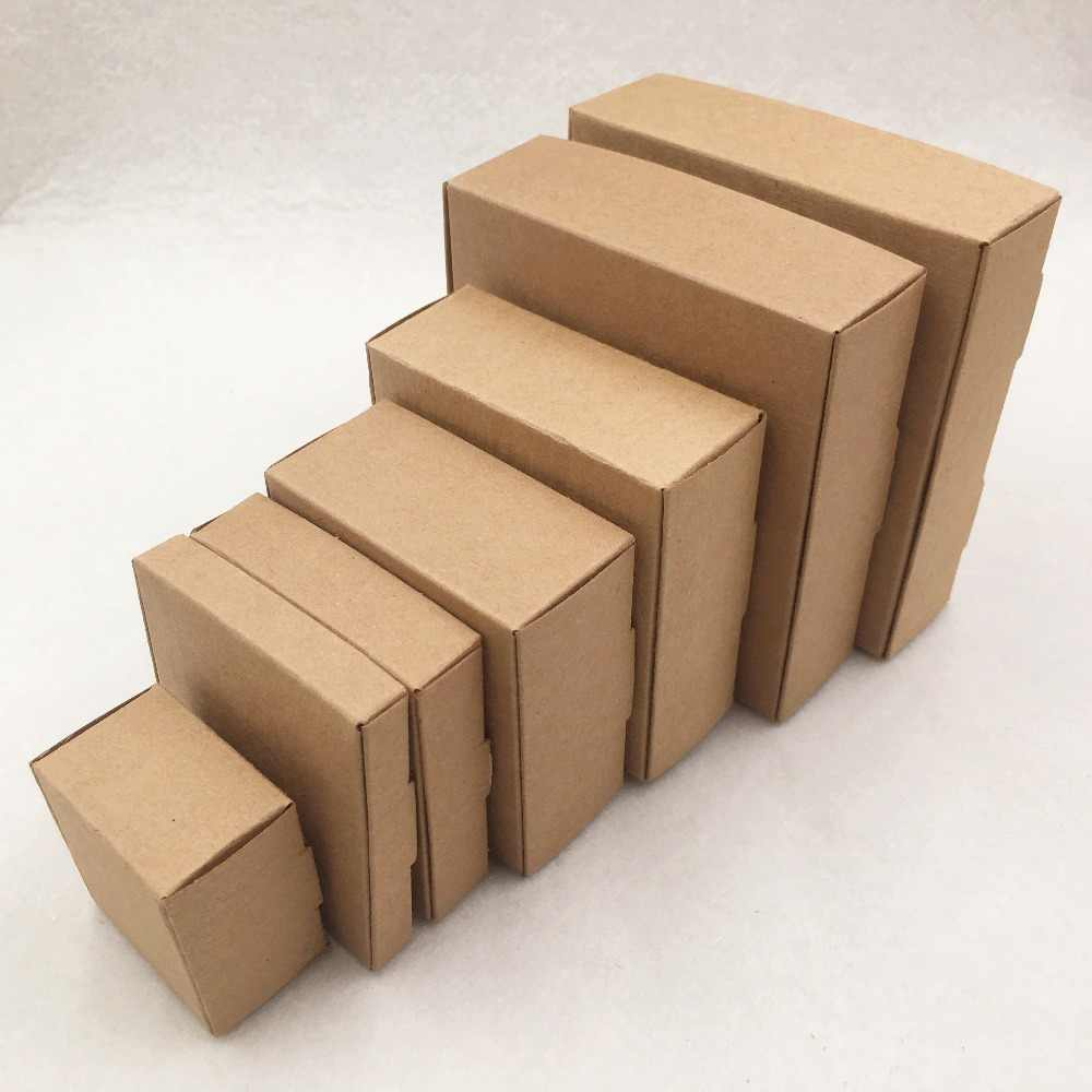 20pcs Paper Aircraft Type Packaging Brown Cardboard Boxes Small Square Shape Candy Boxes Handmade Soap Packaging Favor Boxes