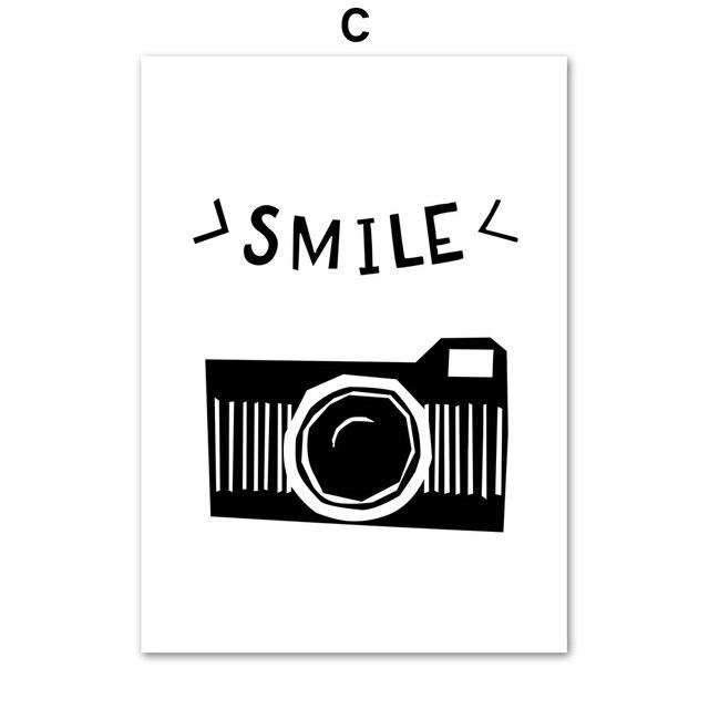 Kartun Kamera Cartoon Camera Quote Seni Kanvas Lukisan Nordic Poster Dan Cetakan Hitam Putih Dekorasi Gambar Untuk Anak Anak Kamar Dekorasi Rumah Painting Calligraphy Aliexpress