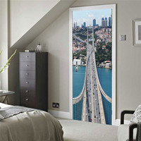 Lstanbul Bosphorus Bridge 3D Door Sticker Autocollant Mural House Decoration Pvc Self Adhesive Sticker Wall Decals
