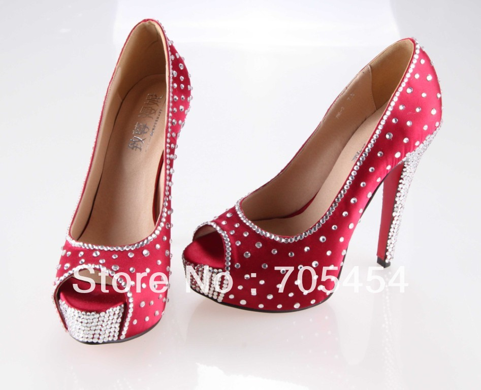 Wedding Heels With Rhinestones: BS370 Free Shipping Red Peep Toe Bridal Wedding Shoes
