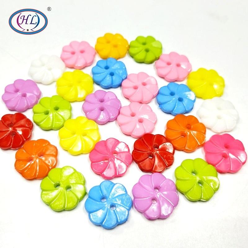 HL 30 unidades/pacote 17 MM Cor Misturada 2 Furos Flor Botões De Plástico para Crianças Vestuário Acessórios de Costura Scrapbooking DIY