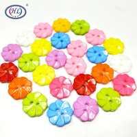 HL 30 unids/pack 17 MM Color mezclado 2 agujeros flor plástico botones ropa para niños accesorios de costura DIY Scrapbooking