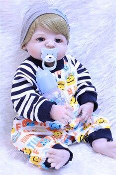 "NPK 23"" Full Body Silicone Reborn Baby boy reborn doll toy bathe Play House dolls modeling reborn bonecas kids gift doll toy"