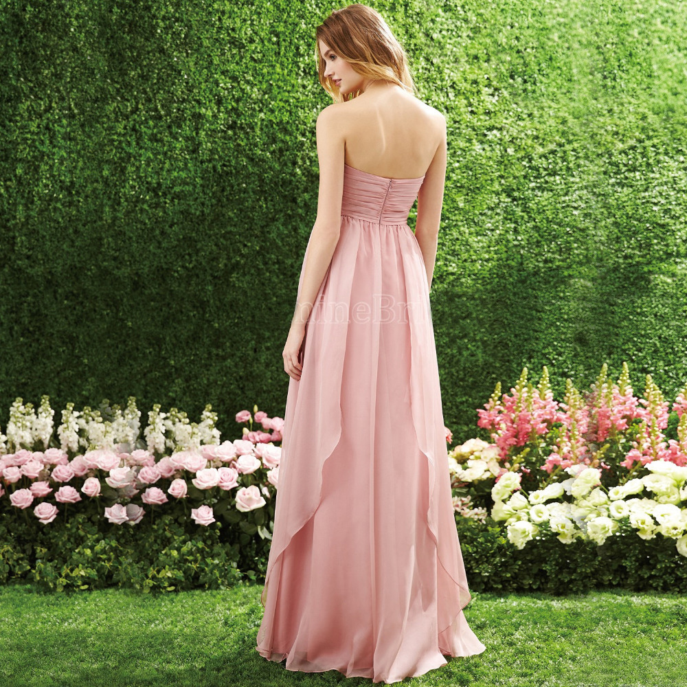 Apricot Blush Bridesmaid Dress Floor Length Strapless Sweetheart ...