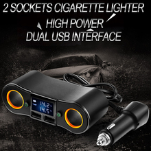 цена на A LED Display 2 Way Auto Sockets Car Cigarette Adapter Lighter Splitter 5V 3.1A Output Power 2 USB Car Charger 12V/24V