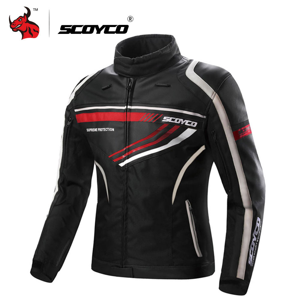SCOYCO Motorcycle Jacket Men Leather Moto Jackets Waterproof Motocross Jacket Protective Gear Reflective Motorcycle Clothing