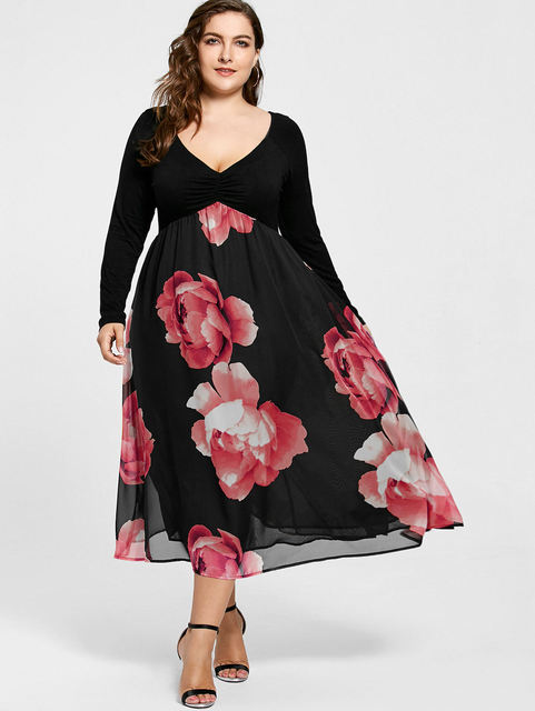 Kenancy Women Long Bohemian Dress Plus Size Floral Print Empire