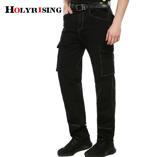 Holyrising men cargo pants mens jeans Multi Pockets Skateboard Cargo Jeans For Men Tactical Denim jeans homme 30-40 size 18397-5