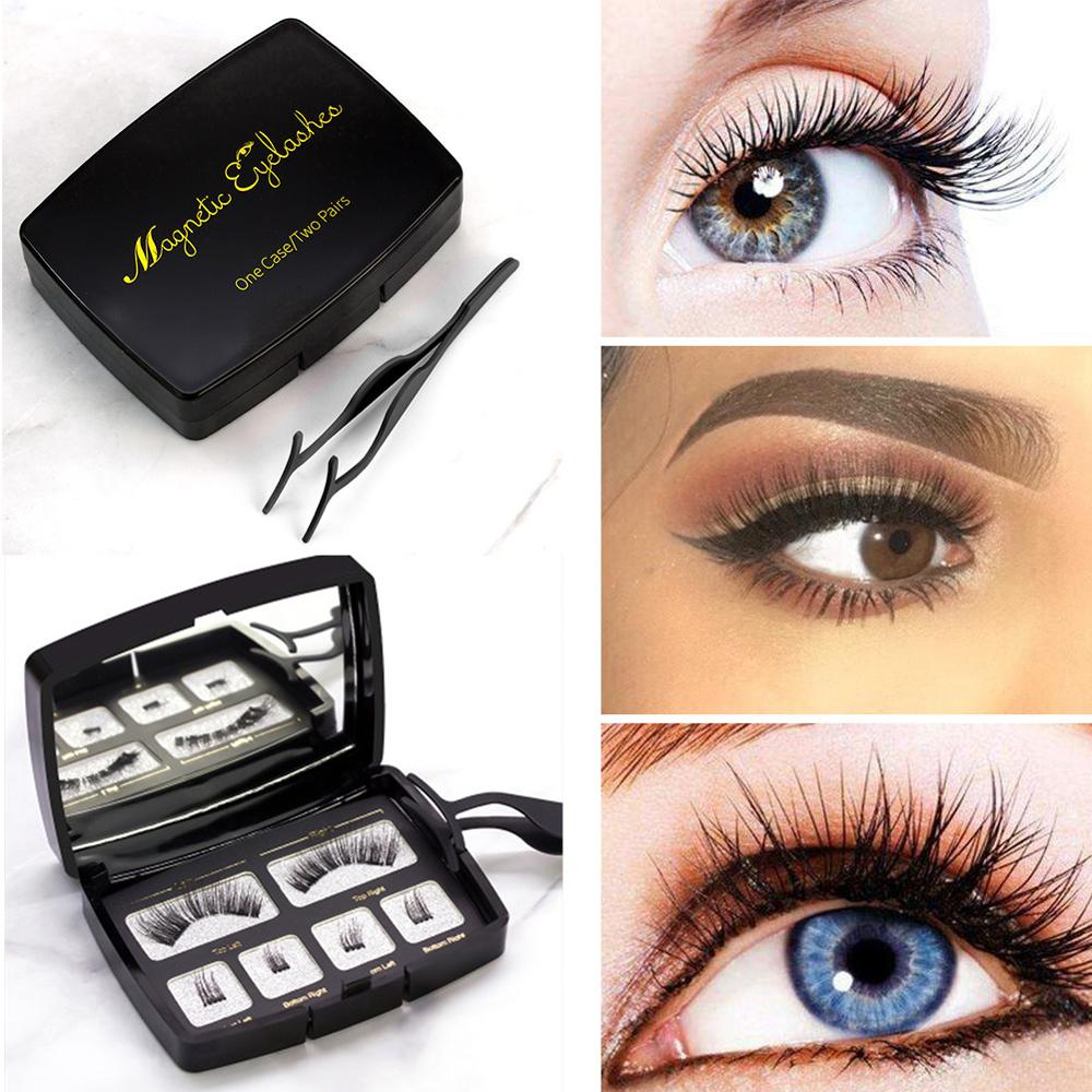 Magic magnetic natural fit false eyelashes handmade with 2 magnets 3D magnetic eyelashes false eyelashes with gift box CW31