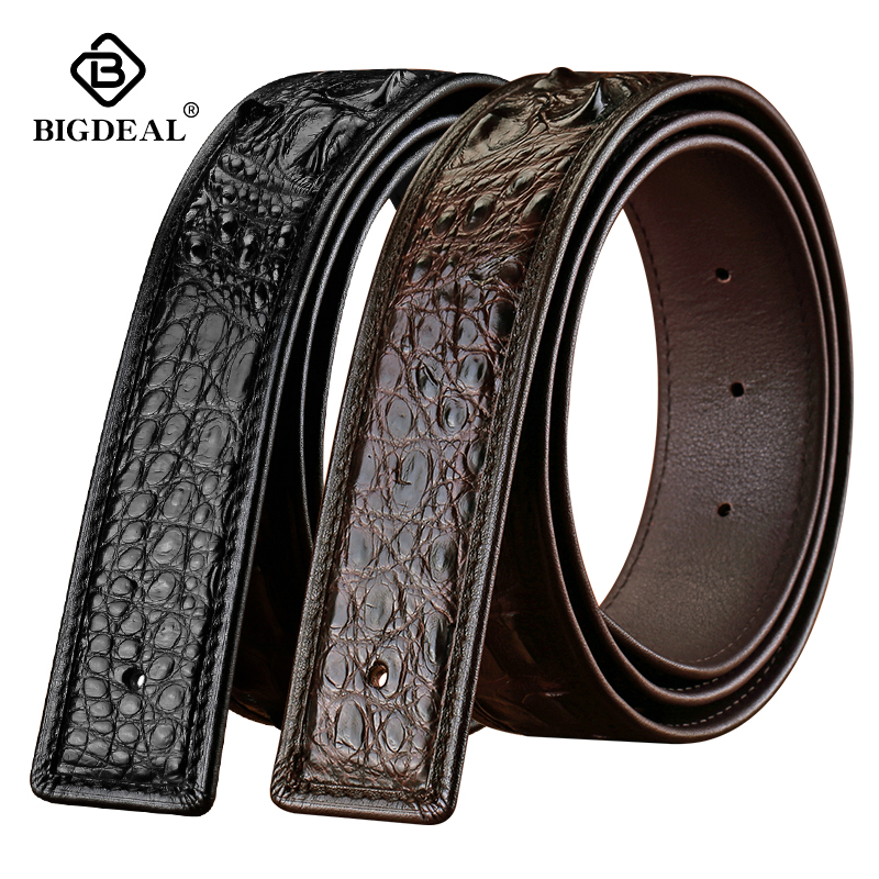 Luxury Brand Men Crocodile Leather Belt Smooth Buckle Real Alligator Belts Business Casual Waistband Fashion Design
