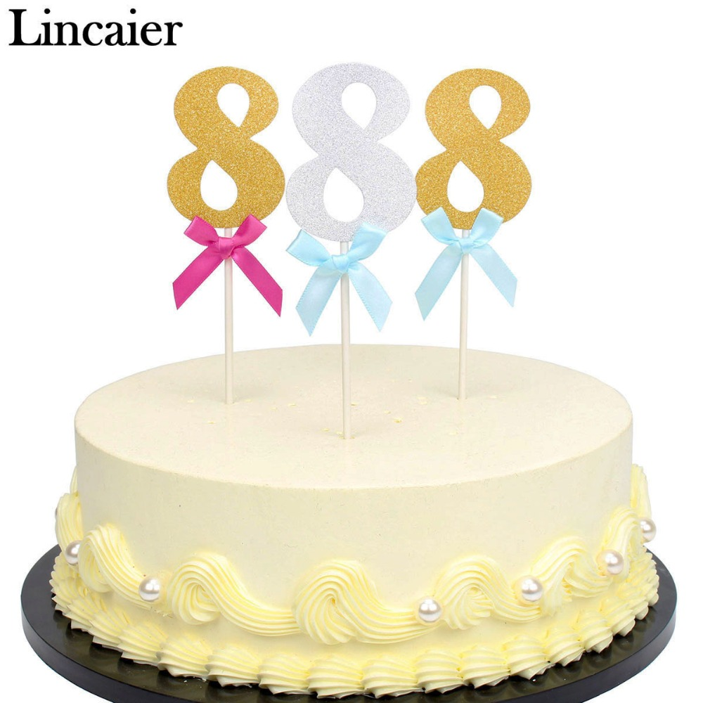 Lincaier 6 Pieces 8 Year 8th Birthday Cake Cupcake Toppers I AM Eight Eighth Boy Girl Party Decorations Anniversary Gold Paper