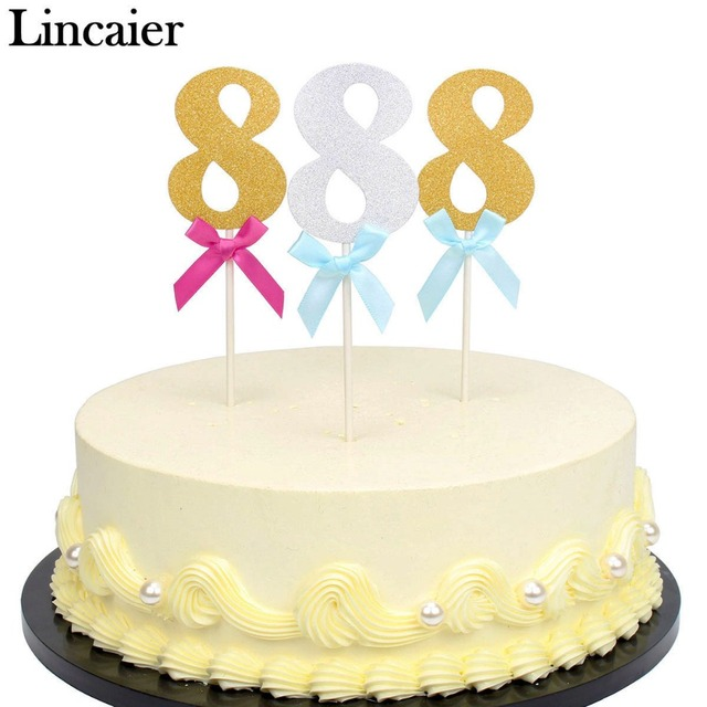 Lincaier 6 Pieces 8 Year 8th Birthday Cake Cupcake Toppers I AM Eight Eighth Boy Girl