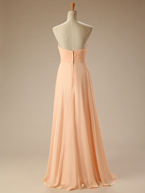 Online Shop Peach Bridesmaid Dresses Long Chiffon Formal Gown ...