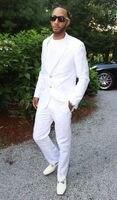 Designs Coat Pant mới nhất Người Đàn Ông da Trắng Phù Hợp Với Casual Loose Làm Cỏ phù hợp với Phong Cách Custom Thực Hiện Men Tuxedo 2 Cái Terno Masculino S