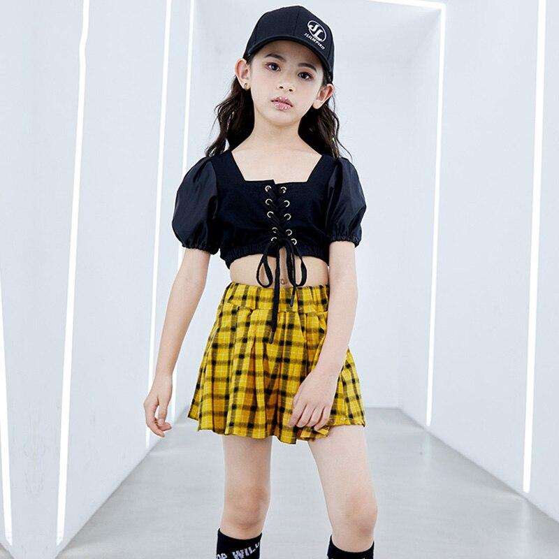 Girls Jazz Dance Performance Costume Children Hip Hop Street Dance Set Short Sleeved Tops Plaid Skirt Kids Stage Outfits DWY1755