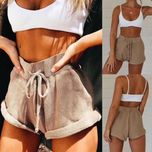 New Women High Waist Tie Belt Shorts Bottoms Summer Loose Trousers Hotpants 1