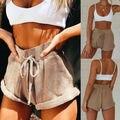 Neue Frauen Hohe Taille Binden Gürtel Shorts Bottoms Sommer Lose Hosen Hotpants