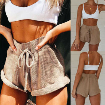 New Women High Waist Tie Belt Shorts Bottoms Summer Loose Trousers Hotpants