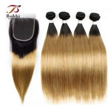 3/4 Bundle Med Afslutning T 1B 27 Ombre Honey Blonde Forfarvet Peruvian Remy Hair Straight Human Hair Weave BOBBI COLLECTION