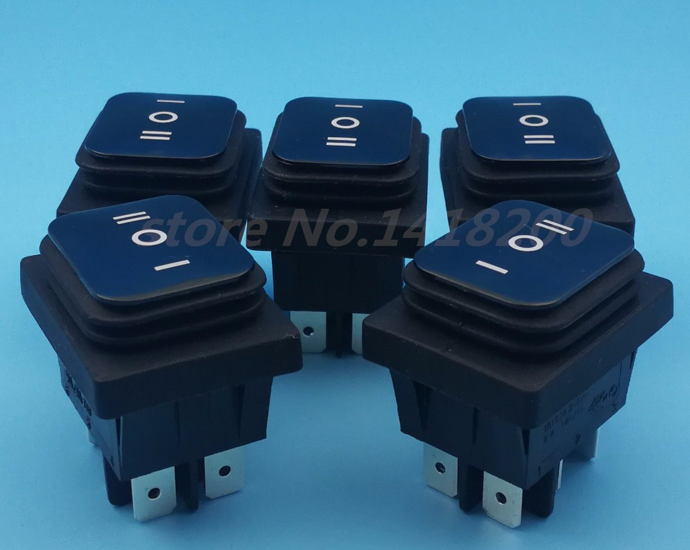 Free hipping 50Pcs Waterproof 16A 125V/10A 250V (ON)OFF(ON)6pin Boat car Rocker Momentary Switch 5pcs lot 15 21mm 3pin on off on g120 boat rocker switch 6a 250v 10a 125v car dash dashboard truck rv atv home