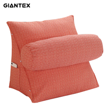 GIANTEX Washable Cotton Linen Triangle Cushion With Round Pillow Bed Large Bolster Sofa Pillow Cushion U1531