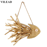 VILEAD 12.9'' Wooden Fish Wall Hanging Ornament Figurines Handmade Wood Animal Wall Decoration Fish Decor Crafts for Home Office