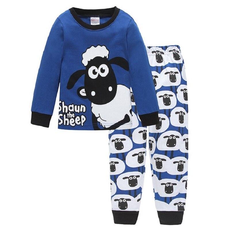 Mignon Moutons Enfants Pyjamas Enfants Définit Nuit costume À Manches T-Shirts Pantalon Garçon vêtements Infantile de Pj pijama Mode Tops Pantalon