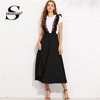 Sheinside High Waist Zip Back Flare Skirt with Embroidered Strap Black Long Skirts For Women 2019 Elegant A Line Midi Skirt
