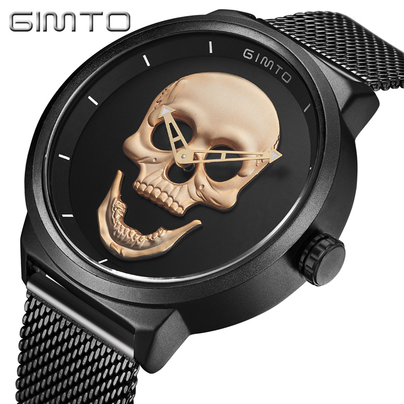 GIMTO Cool Skull Men Watch Luxury Brand Quartz Creative Clock Steel Black Military Female Male Wrist Watches relogio masculino gimto big dial gold black skull women watches luxury brand steel male female clock vintage ladies lovers watch relogio feminino