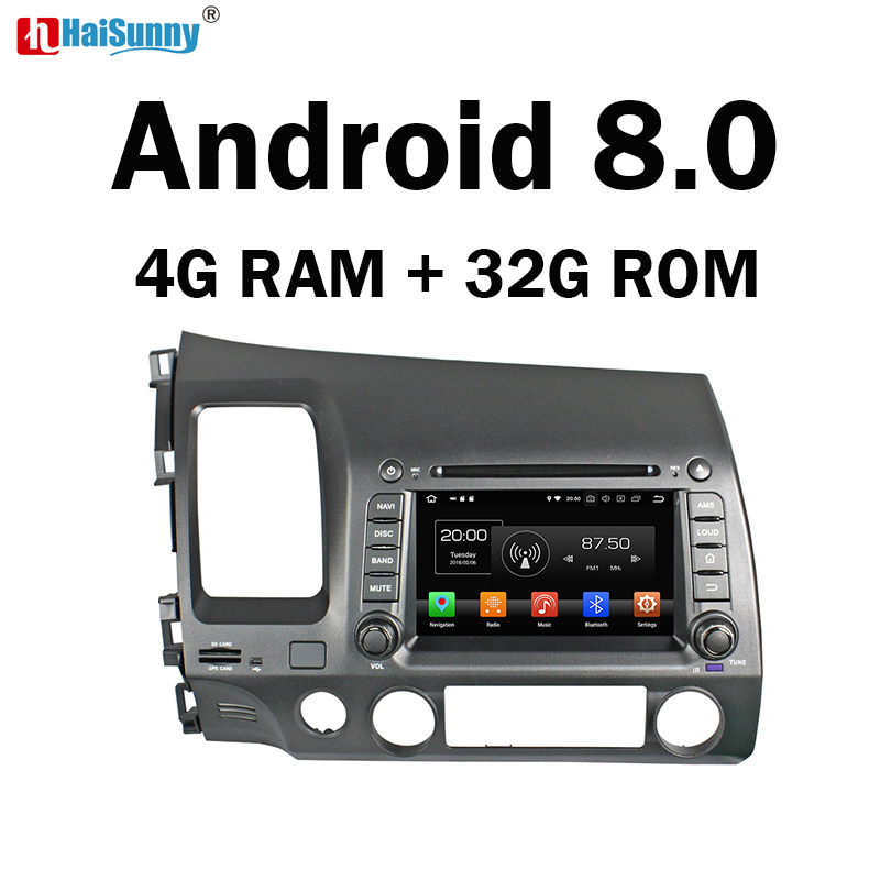 HaiSunny 4GB RAM Octa Core Android 8.0 Car DVD GPS Navigation Multimedia Player Stereo For Honda CIVIC 2006-2009 2010 2011 Radio цена
