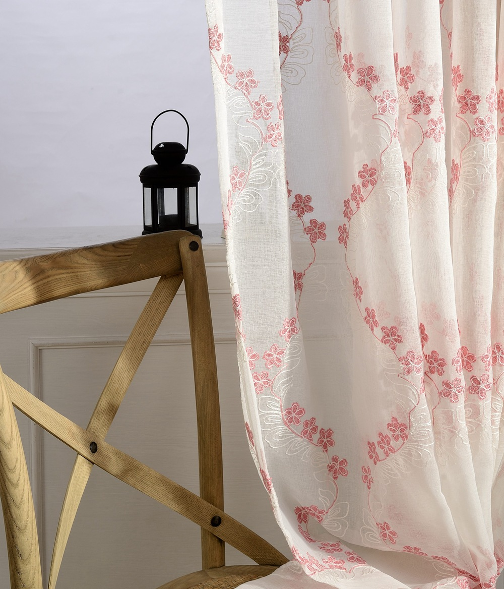 Cherry blossoms Embroidered Tulle Curtains Pastoral Pink Floral Screen  Sheer Volie for Living Room Cortinas Para