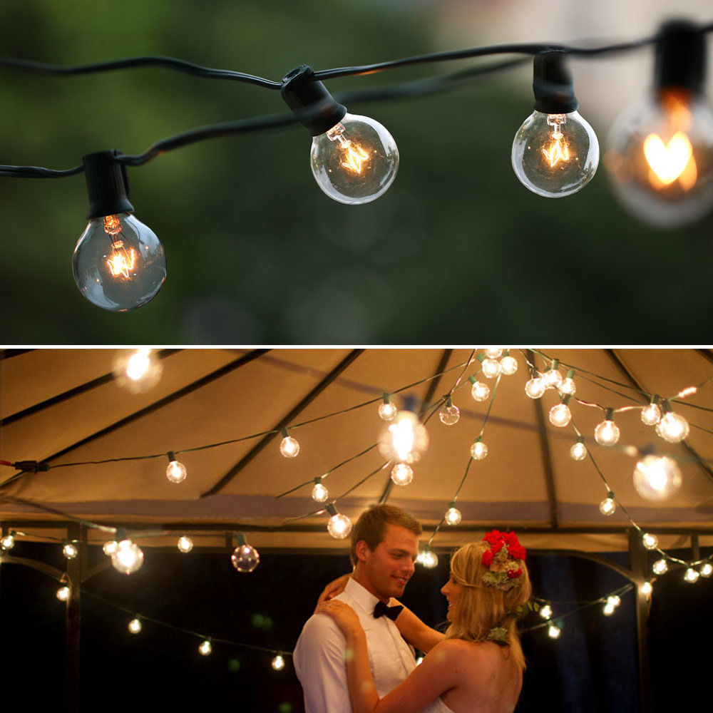 G40 Bulb Globe String Lights With 25Ft Clear Bulb Backyard Patio Retro Indoor/Outdoor Light Decoration Garden/Party/Wedding