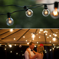 G40 Bulb Globe String Lights With 25Ft Clear Bulb Backyard Patio Retro Indoor Outdoor Light Decoration