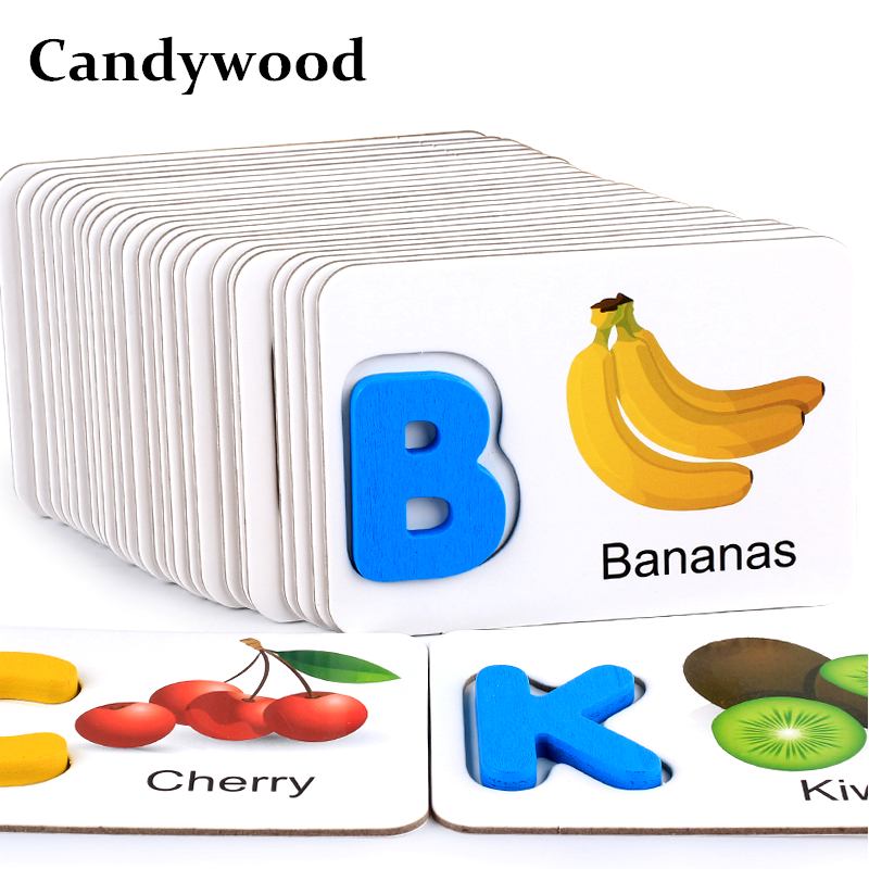 Candywood 3D Puzzles Child Kids English Letter Identification Fruit pairing Card English Letter Educational Learning wood