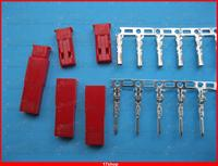 1000 Set JST 2 Pin Housing and Pin Connector Female & Male Red Color